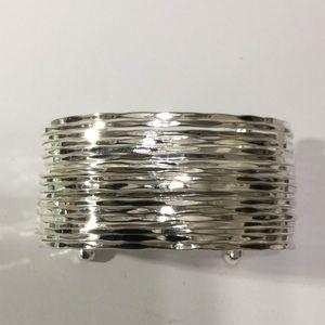 ZAD Silver-tone Wide Cuff Bracelet